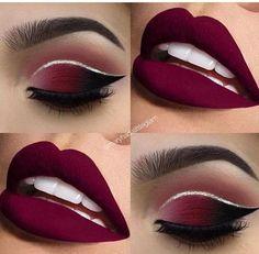 Red lip makeup eyeshadow cut crease