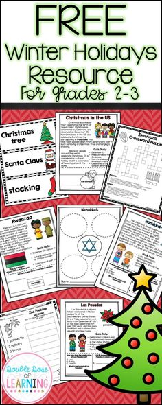 Free Winter Holidays resource for grades 2-3. Christmas, Kwanzaa, Hanukkah and Las Posadas have never been easier to teach while implementing reading and writing standards with content.