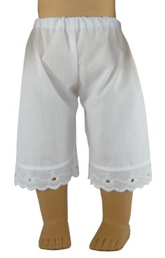 Handmade White Pantaloons Pantalettes for American Girl Doll Clothes #DollClothesSewBeautiful