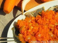 Potrawy nawigilię Fish And Seafood, Risotto, Carrots, Salsa, Menu, Vegetables, Ethnic Recipes, Menu Board Design, Carrot