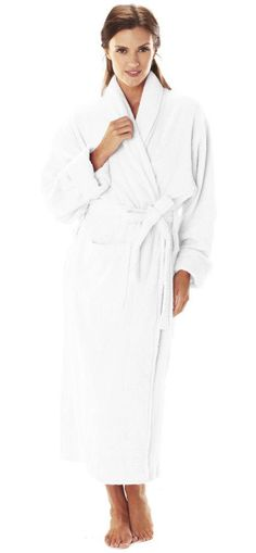 "Our Deluxe Turkish loop terry robe is perfect for your spa getaway or luxurious hotel stay. Ideal for embroidery, this medium-weight shawl collar robe will wrap you in comfort. 52"" Deluxe Turkish Shaw"
