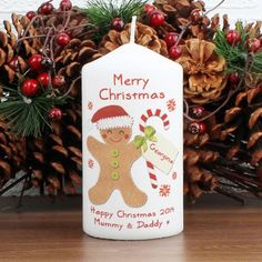 Personalise this Felt Stitch Gingerbread Man Candle with a name up to 12 characters, to be featured on the candy cane label. You can also add 2 lines of 20 characters each at the bottom.'Merry Christmas' is fixed text.Candle is presented in an org. Christmas Gifts For The Home, Christmas Candles, Christmas 2014, Xmas Gifts, Merry Christmas, Christmas Ornaments, Gifts Uk, Christmas Decorations, Christmas Christmas