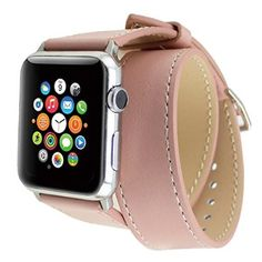 Apple Watch Band, Wearlizer Genuine Leather Watch Strap Replacement w/ Metal Clasp for Apple Watch all Models Double Tour Design - 38mm Pink