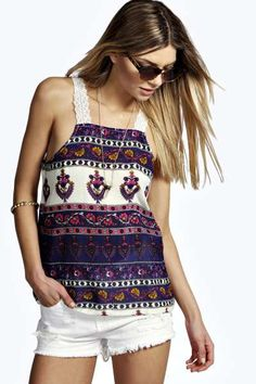 Mia Crochet Strap All Over Print Cami at boohoo.com