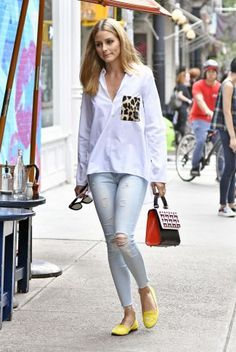 Luxe Celeb Street Style | Olivia Palermo in leopard print pocket top and yellow loafers | The Luxe Lookbook
