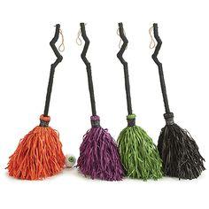 "Halloween Witch Broom Decor - Choice of Orange/Purple/Green/Black (9723857) - 32"""" Tall"
