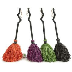 "Halloween Witch Broom Decor - Choice of Orange/Purple/Green/Black (9723857) - 32"""" Tall"