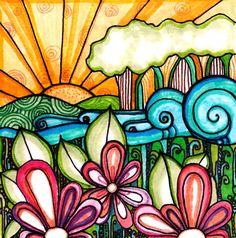Flowers Print Hills are Alive landscape  por RobinMeadDesigns