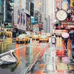 "'""Detour"" Pelican in New York Watercolor' Photographic Print by Paul Jackson Watercolor Postcard, Watercolor Art, Watercolor Illustration, John Paul Jackson, Painting Inspiration, Wall Murals, New York, Prints, Image"