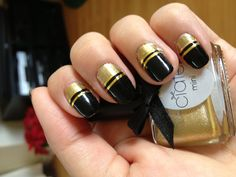 Black and gold Art Deco nails