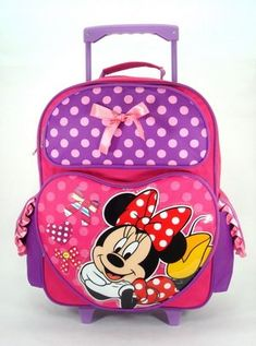 Large Rolling Backpack - Disney - Minnie Mouse - Lucky New School Bag 619206 ** Click on the image for additional details. (This is an Amazon Affiliate link and I receive a commission for the sales)