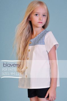 Girls Blouse Top PDF Pattern  Nautical by blaverry Sizes 2T to 14, basic, cool, easy, love the inverted pleat in center back, great with shorts