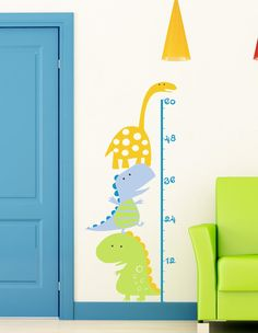 Dinosaur Growth Chart Cartoon Vinyl Wall Lettering Sticker Decal Children Measure Tall. $60.00, via Etsy.