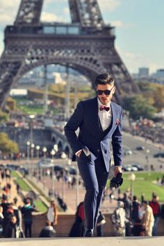 Blue suit, bow tie, Paris - All necessities for Spring