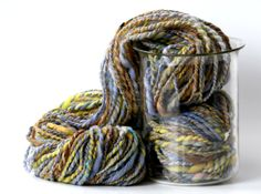 "Handspun hand dyed 2 ply merino wool ~ by WrenHouseYarns ""Morning Glory and Marigolds"""