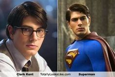 Clark Kent and Superman. Somehow, Clark Kent was always so much sexier to me Superman Love, Superman Man Of Steel, Brandon Routh, Bonnie Tyler, Cute Celebrities, Celebs, Clark Kent, Celebrity Look, Look Alike