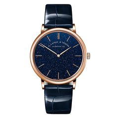 A. Lange & Söhne - Saxonia Thin in pink gold with gold flux dial | Time and Watches | The watch blog Blue Gold, Pink And Gold, Apple Watch 1, Watch Blog, Perfect Model, Hand Watch, Elegant Watches, Material Girls, High Jewelry