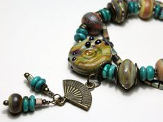 Lampwork Bracelet with Antique Brass by StoneDesignsbySheila, $148.00