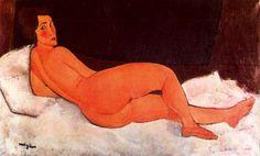 Amedeo Modigliani. Desnudo recostado, 1917. Óleo sobre lienzo. Colección privada. WikiPaintings.org - the encyclopedia of painting