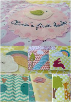 Baby's first fabric book/ baby's quiet/soft book. €35.00, via Etsy.