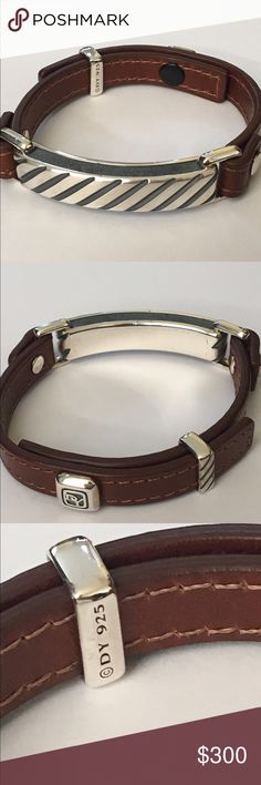 David Yurman Men's Single Wrap Cable Bracelet Brown leather modern cable single wrap bracelet by David Yurman.  Brand new and unworn.  Comes in black Yurman pouch from the Yurman outlet.  Discontinued style.  Marked DY 925.  Great for gift giving. David Yurman Accessories Jewelry