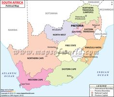 #South_Africa #Map showing the provinces with capital cities, national capital, major cities, international boundary.