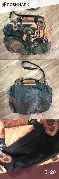 Oversize patchwork bag Patchwork leather oversize bag, shoulder strap, and handle, interior zippered pocket, soft leather nice condition,1980s Vintage Bags Shoulder Bags