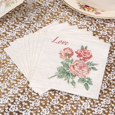 Vintage love paper napkins. Great for sticky fingers after serving canapés and afternoon tea at your vintage wedding or vintage celebration.  By www.fuschiadesigns.co.uk £2.99 per pack of 20.