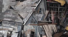 """SETH CLARK: Mass II (detail)  144"""" x 72"""" triptych Collage, Charcoal, Pastel, Acrylic, Graphite on Wood"""