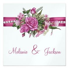 Rose Wedding Reception Pink Roses Callas Buds After Wedding Celebration Card