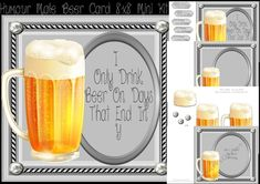 CUP799135_983 - Humour Male Beer Card 8x8 Mini Kit in lovely silver frame with corner brads, kit contains 4 sheets, the 8x8 card front with ...
