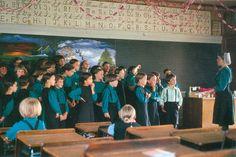 Amish children with their teacher
