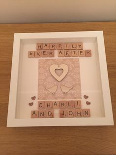 Happily ever after - wedding scrabble memory frame / handmade / personalised - £15.09 plus P&P