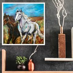 Freue mich, euch diesen Artikel aus meinem Shop bei #etsy vorzustellen: Pferdestärken Ölgemälde Unikat 50x 50 inkl. weisser Rahmen