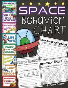 Behavior clip chart, think sheet, and other forms to help manage your space-themed classroom! Classroom Behavior Chart, Behavior Clip Charts, Classroom Behavior Management, Space Theme Classroom, Classroom Decor Themes, Classroom Ideas, Space Preschool, Space Activities, Theme Galaxy