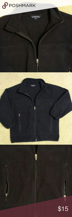 Lands' End jacket Black, Lands' End boys jacket, size small (7/8), with full zip and 2 front pockets. Good condition. Appears to fit larger than size. 100 % polyester. Lands' End Jackets & Coats