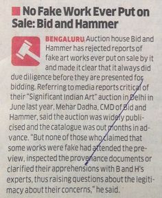 No Fake Work Ever Put on Sale: Bid & Hammer, The Economic Times, New Delhi, 23rd March 2015