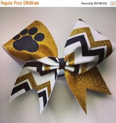 SALE White gold and black glitter paw and chevron cheer bow.