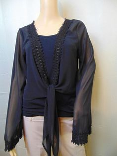 Candies Blouse Open Tie Front Sheer Black Lace Detail Size Large NWT #6 #Candies #Blouse #Casual