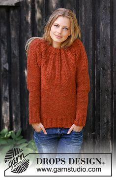 Clemence / DROPS - Free knitting patterns by DROPS Design Knitted sweater with round yoke in DROPS Air. Work is knitted from top to bottom with textured borders. Sizes S - XXXL. Sweater Knitting Patterns, Knitting Designs, Free Knitting, Crochet Patterns, Drops Design, Raglan Pullover, Big Knits, Jumpers For Women, Ladies Jumpers