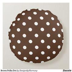 Brown Polka Dot Round Pillow Brown Cushions, Round Pillow, Soft Pillows, Decorative Cushions, White Patterns, Colorful Decor, Soft Fabrics, Vibrant Colors, Polka Dots