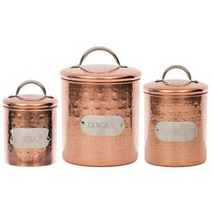 Silver Labeled Copper Canisters, Set of 3 (€34) ❤ liked on Polyvore featuring home, kitchen & dining, food storage containers, drink canister, tea sugar canisters, copper cannisters, sugar canister and tea canisters