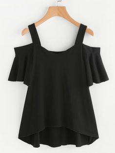 Shop Frill Sleeve Dip Hem T-shirt online. SheIn offers Frill Sleeve Dip Hem T-shirt & more to fit your fashionable needs. Girls Fashion Clothes, Teen Fashion Outfits, Stylish Outfits, Girl Fashion, Cute Outfits, Crop Top Outfits, Blouse Designs, Street Fashion, Frill Shirt