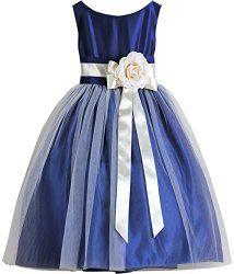 Wedding House Festliche Maedchen Tüll Blumenmädchen Kleid Kommunion Kleid Partykleid mit Blume FG021 (2 (Gr.93/98), Blue)