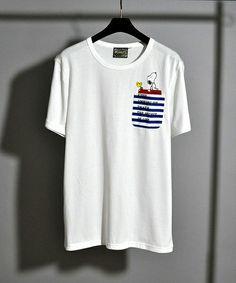 UPSTART SELECT(アップスタートセレクト)の胸ポケットスヌーピーTシャツ 【grn】(Tシャツ/カットソー)|ホワイト