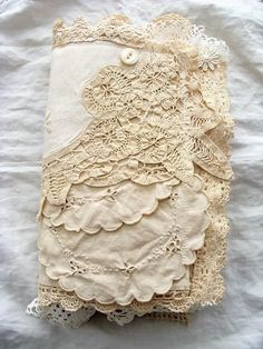 Vintage Fabric and Lace Journal, Handmade Mixed Media Book