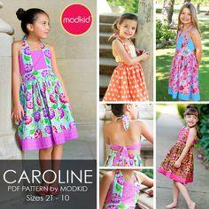 CAROLINE Pleated Dress PDF Downloadable Pattern by by modkid