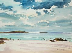 Iona, Rain Coming Image size: 300 x 225 mm  Based on a watercolour painted on location on the Isle of Iona in the rain. This studio painting captures the white sands of this picturesque Scottish island.