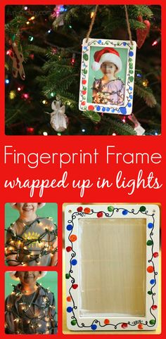 This Fingerprint Christmas Lights Photo Frame Makes the Best Gift Wrapped Up in Lights Fingerprint Frames - Christmas gifts for kids to make their families Preschool Christmas, Noel Christmas, Christmas Gifts For Kids, Christmas Activities, Christmas Pictures, Christmas Projects, Christmas Lights, Diy Christmas Frames, Diy Christmas Gifts For Parents