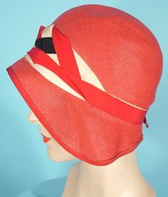 c. 1920's Red Straw Cloche with Grosgrain Ribbons. The sweeping brim edge is just lovely.